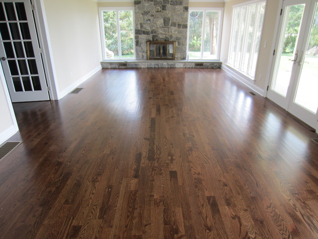 Aquebogue New Construction 3 1 4 Red Oak Installed Stained Special Walnut