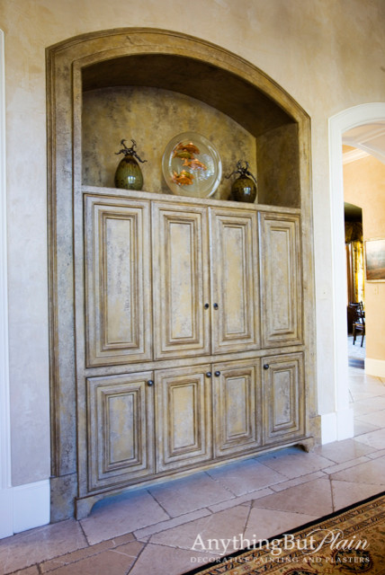 Arched Built-in Television Cabinet - Living Room - Houston ...
