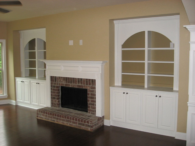 Arched Fireplace Built ins traditional-living-room