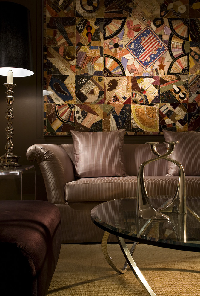Example of a trendy living room design in Miami with brown walls