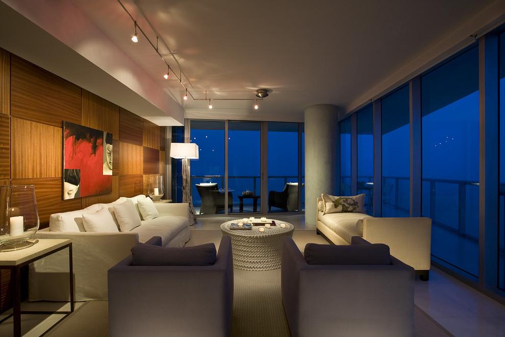 Large minimalist living room photo in Miami