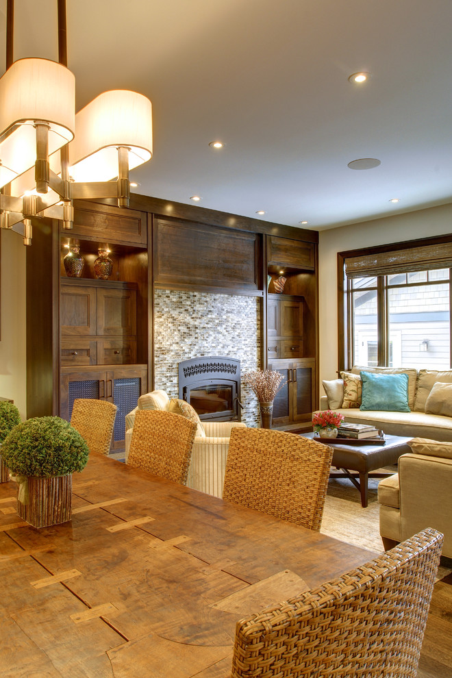 Arts and crafts living room photo in Calgary
