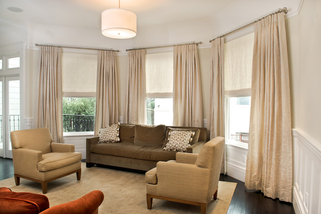 Trendy Living Room Photo In San Francisco With Beige Walls