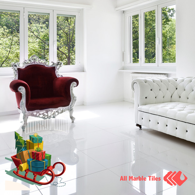 Arctic White Marble Tile, Mosaic, Moulding Collection modern-living-room