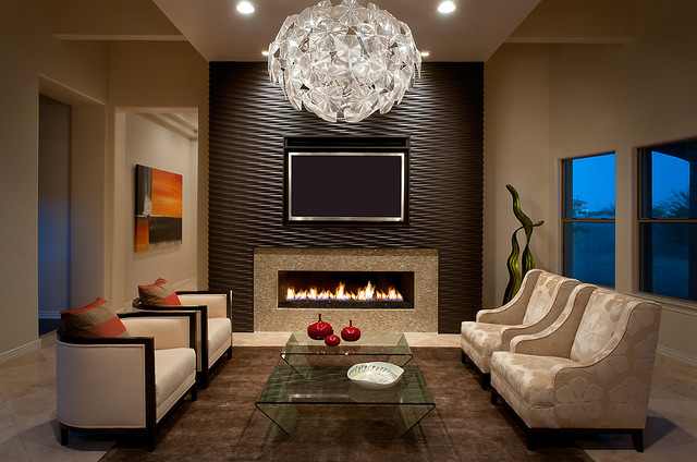 example of a mid sized trendy living room design in phoenix with beige walls