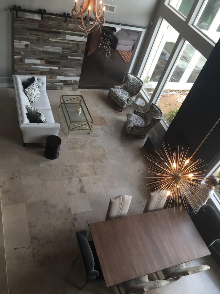 Living room - industrial living room idea in Oklahoma City