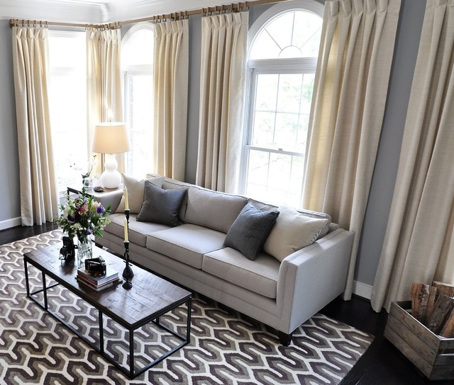 Transitional Living Room Design Ideas: Arlington Living Room Drapes