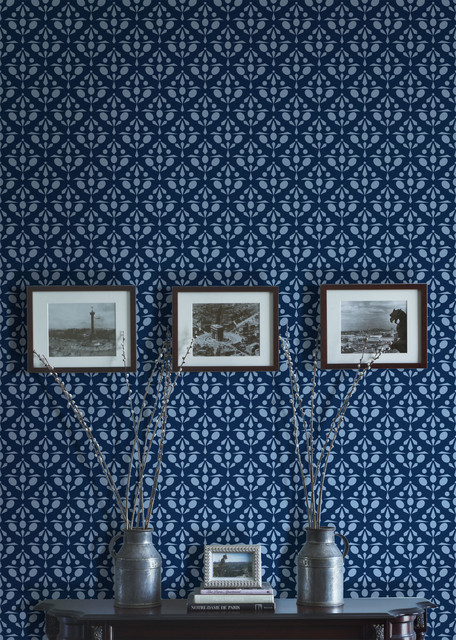 Aronel rendezvous wallpaper in navy transitional for Navy blue wallpaper for walls