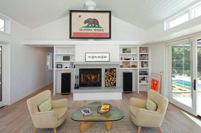 Example Of A Country Living Room Design In San Luis Obispo With White Walls  And A