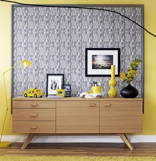art as background to cabinet, cabinet, decor eclectic-living-room