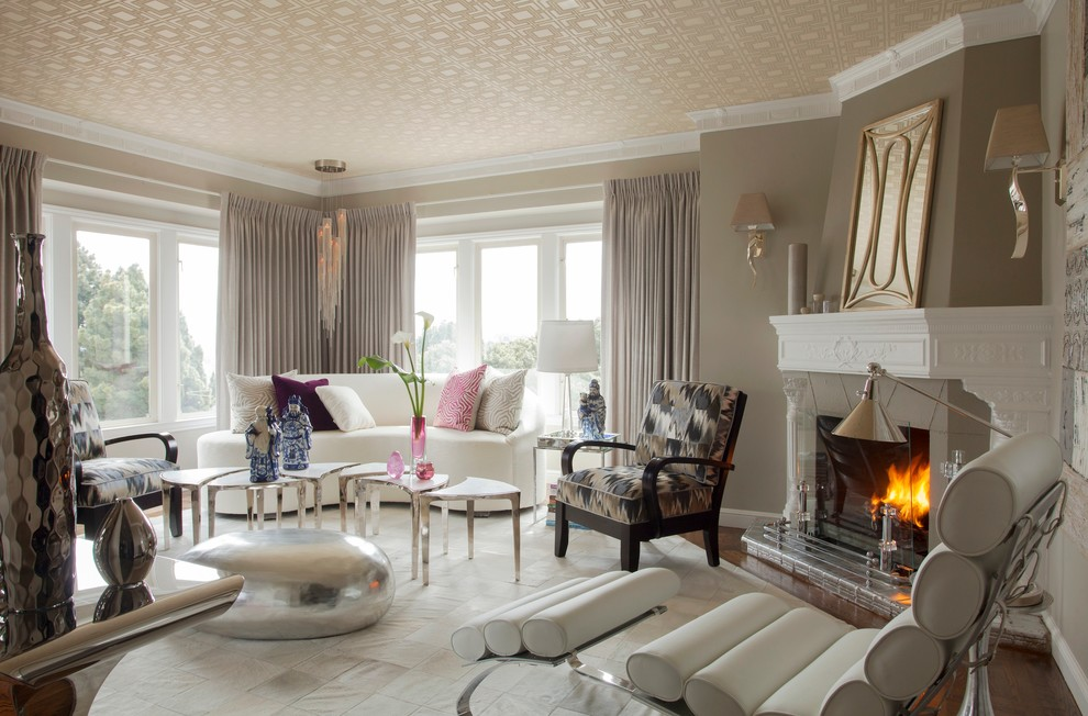 Trendy formal living room photo in San Francisco with a standard fireplace