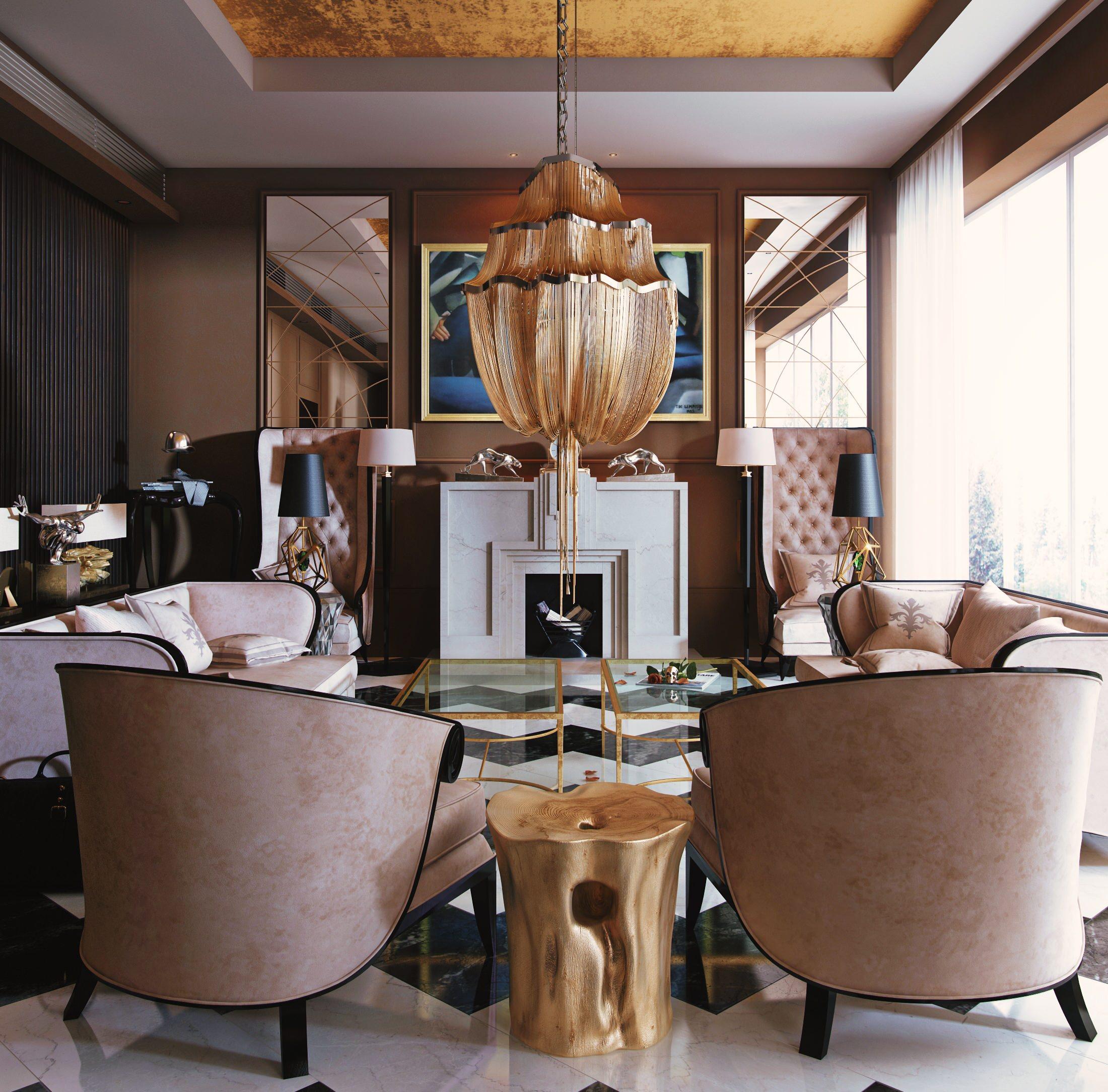 Art Deco Living Room Industrial, Art Deco Living Room