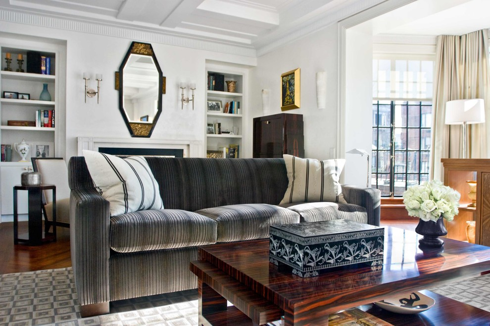 Living room - mid-sized traditional formal and open concept dark wood floor living room idea in New York with white walls and a standard fireplace