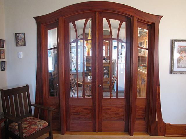 Art Nouveau Mahogany French Doors