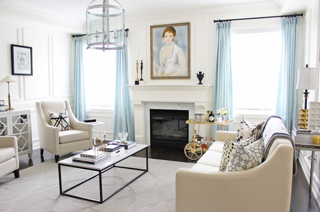 Transitional Formal Dark Wood Floor Living Room Idea In Toronto With White  Walls, A Standard Part 51