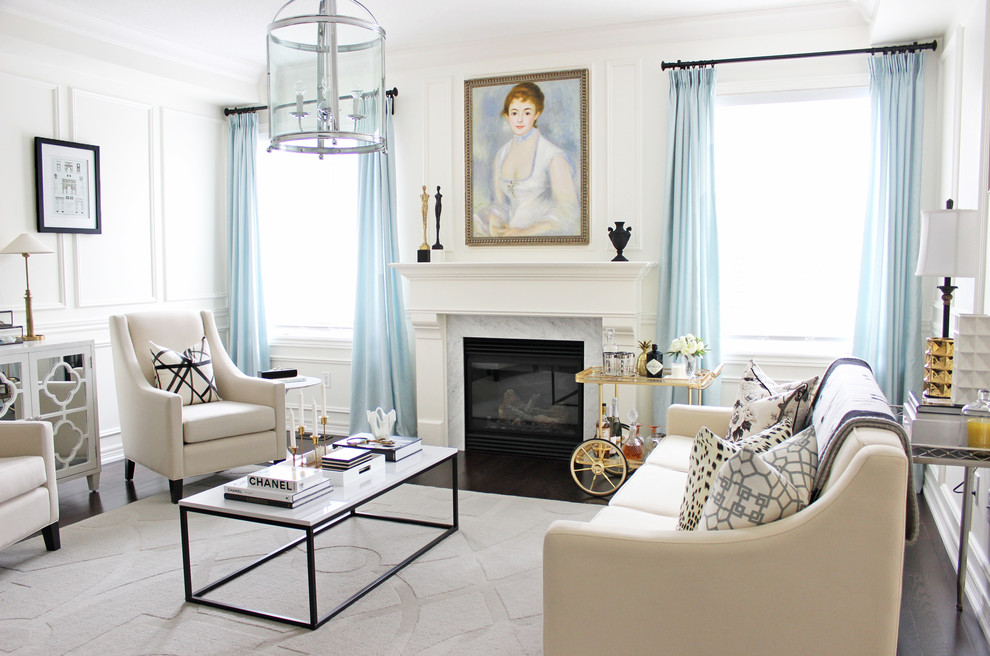 Living room - transitional formal dark wood floor living room idea in Toronto with white walls, a standard fireplace and no tv