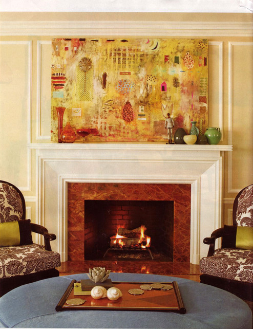 Art over Fireplace - Traditional - Living Room - New York - by Smilow + Mathiesen