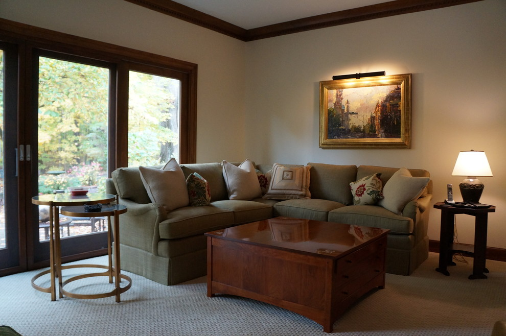 Example of a large arts and crafts living room design in Indianapolis