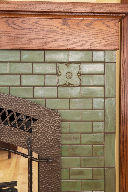 arts and crafts tile fireplace surround | Roselawnlutheran