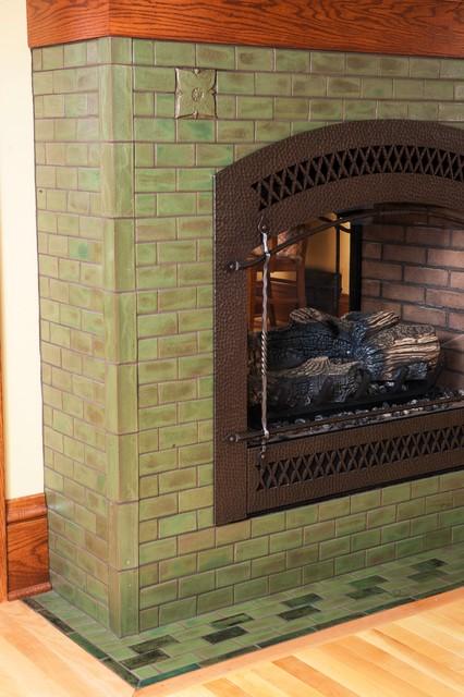 Arts crafts living room fireplace craftsman living for Arts and crafts tile fireplace