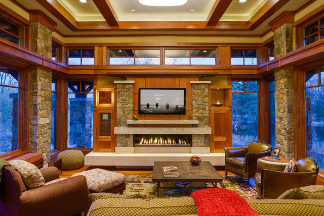 Arts And Crafts, Prairie In Wayzata Craftsman Living Room