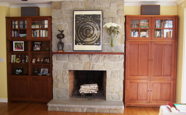 arts and crafts style built in cabinets traditional
