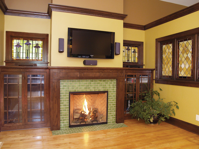 Arts U0026 Crafts Tile Fireplace Showcase Traditional Living Room