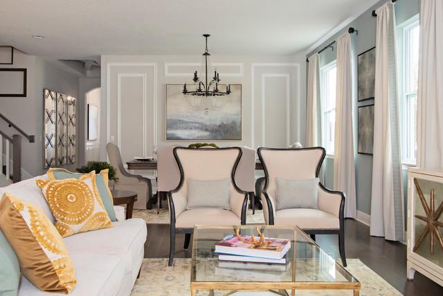 Ashton Woods Model Home Transitional Living Room