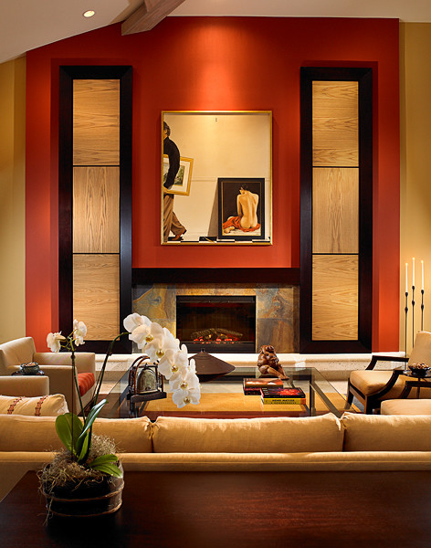 Asian influence with a warm comfortable feel asian living room other by shuster design - Interior design living room warm ...
