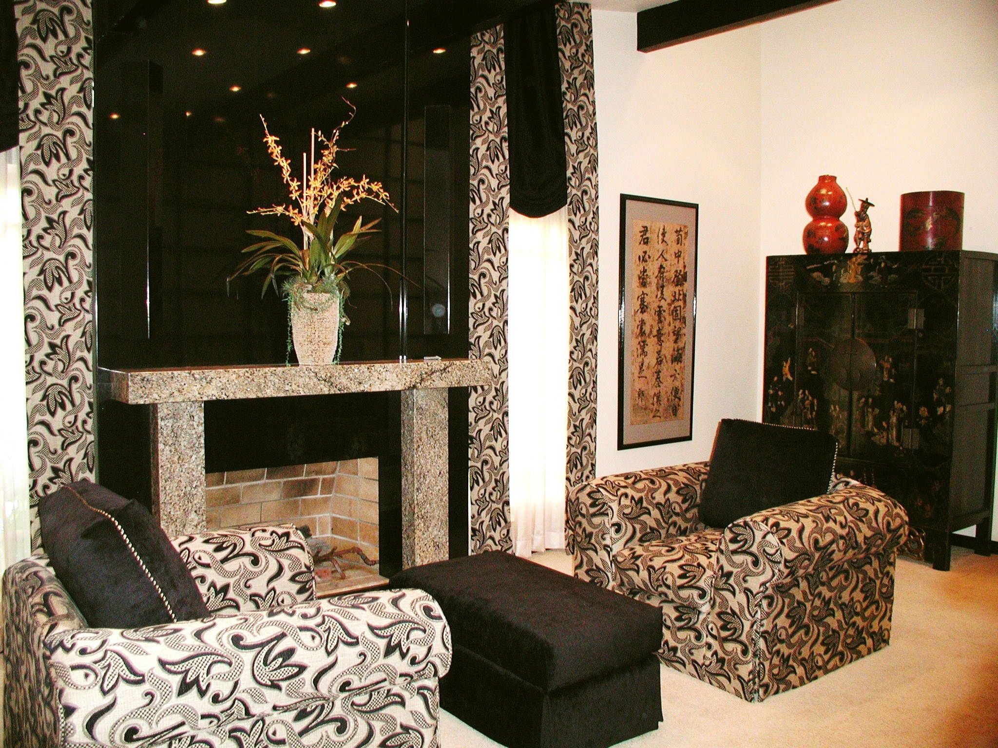 Asian Inspired Living Room from another view