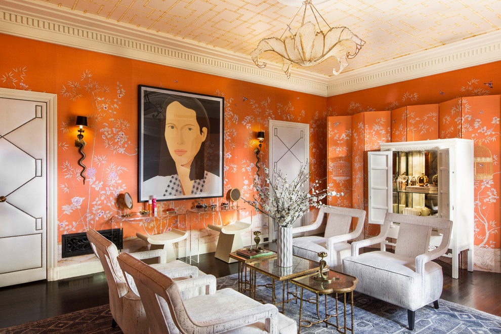 Asian living room photo in Los Angeles with orange walls