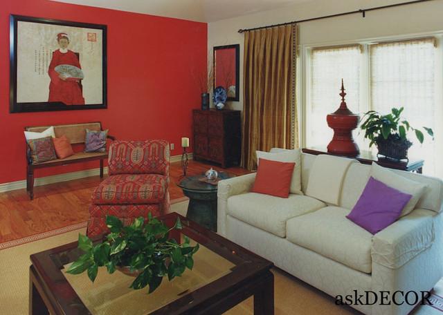 Asian Style Living Room Decor - Asian - Living Room - Orange ...