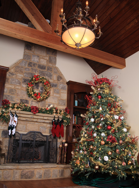 Aspen fir rustic christmas tree in living room traditional living room atlanta by for Christmas tree in living room photos