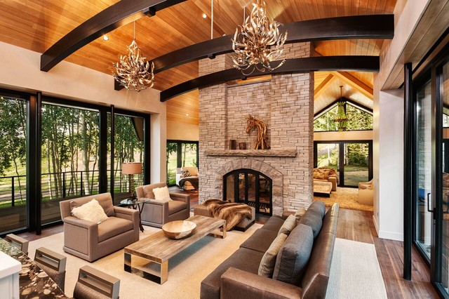 Aspen Modern Mountain Great Room With Stone Fireplace