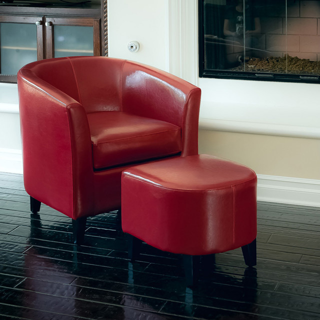 Astoria Red Leather Club Chair Ottoman Set Modern Living Room