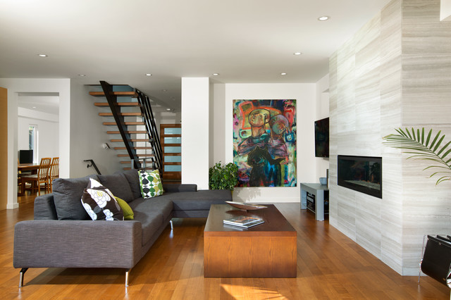 Asymmetrical overhaul modern living room other metro for Interiores de casas modernas de un piso