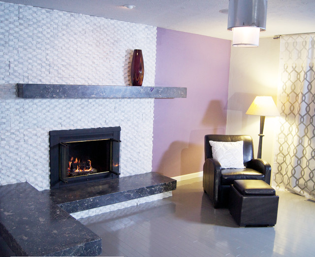 Asymmetrical White Fireplace Purple Room Contemporary