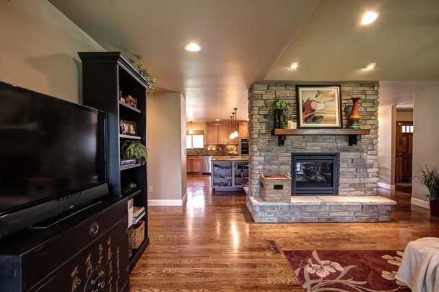 At the Pinery in Parker, CO. Kitchen and fireplace remodel - Traditional - Living Room - denver ...