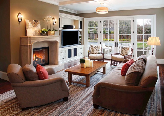 Example Of A Classic Living Room Design In San Francisco With Standard Fireplace And