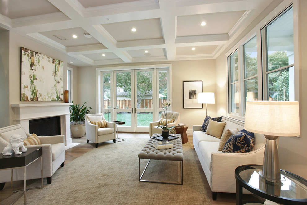 Living room - transitional formal dark wood floor living room idea in San Francisco with beige walls and a standard fireplace