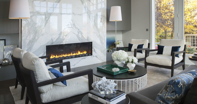 Atkinson Residence O Calacatta Marble Fireplace Contemporary Living Room