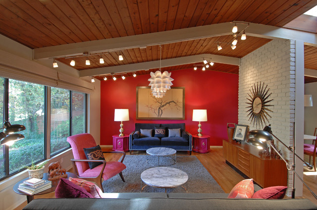 Atomic ranch renovation for Ranch living room ideas