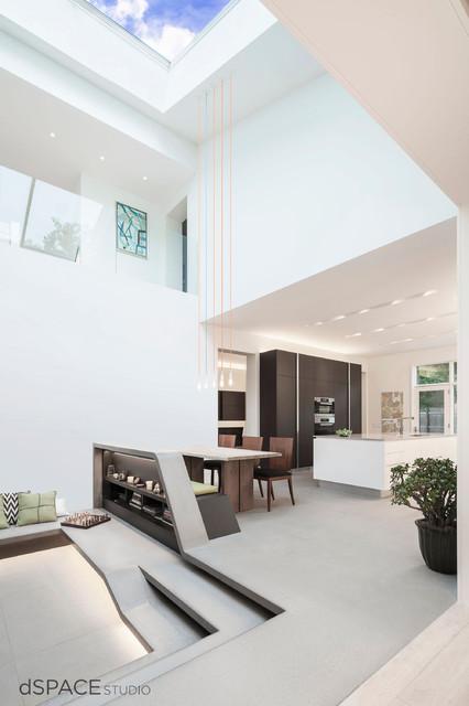 Atrium with Glass Roof Skylight contemporary-living-room