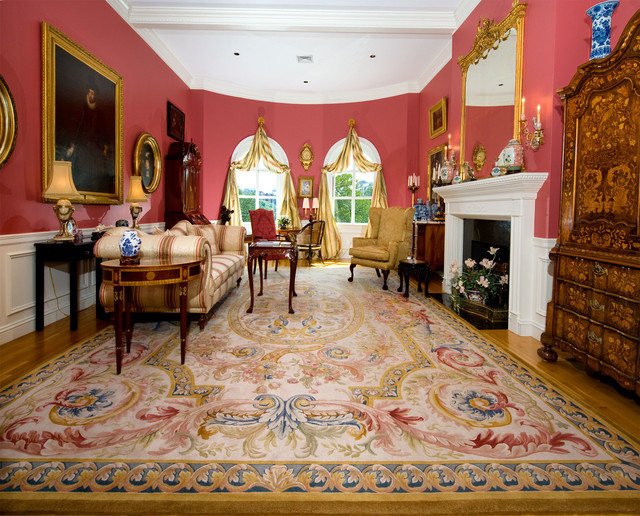 Aubusson Rug In French Style Room Traditional Living Room