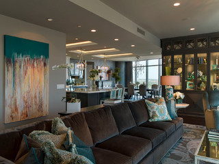 Austonian Luxury Condo Contemporary Living Room