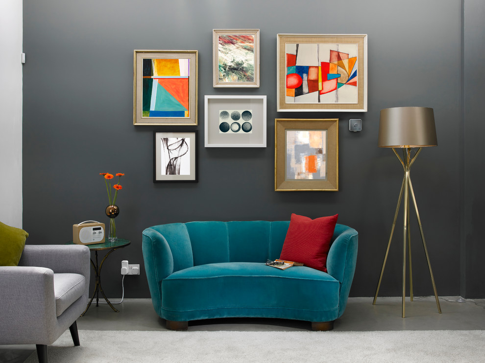 Trendy living room photo in London