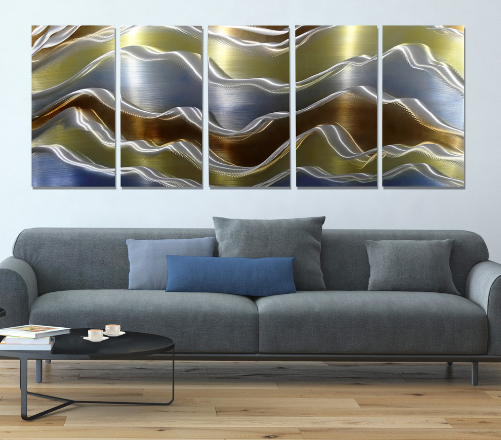 Avalanche - Abstract Gold, Brown, and Blue Modern Metal ...