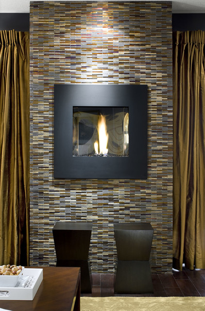 Avani Stone Gl Mosaic Fireplace Contemporary Living Room