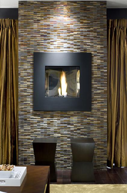 Avani Stone Gl Mosaic Fireplace Contemporary Living