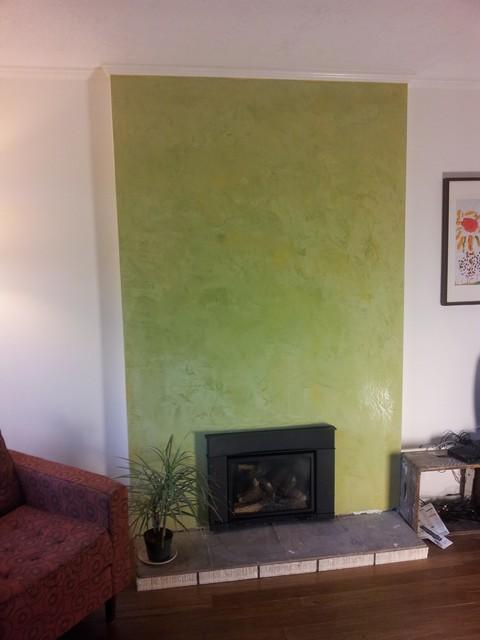 Avocado Green Stucco Italiano Fireplace Surround Contemporary Living Room